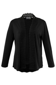 Shirtjacke mit Lochmuster-Borte, offenes Modell