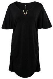 Kleid mit silbriger Brosche am Ausschnitt, Flügelärmel