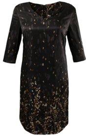 Kleid, fließender Stoff, Blätter-Design, feiner Reißverschluss hinten