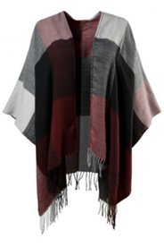 Poncho mit Karomuster, offenes Modell