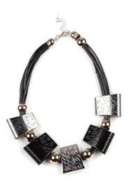Kette, Lederbandoptik mit Dekoren in Schwarz und Silber