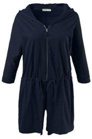 Shirtjacke, lange Form, Kapuze, geflammte Struktur, Baumwolle