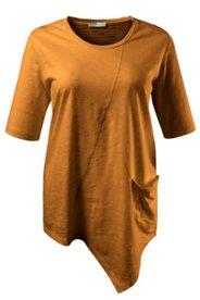 Shirt, Bio-Baumwolle, Flammjersey, Ziernähte, asymmetrischer Saum