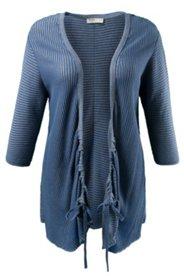 Cardigan,lange Form, 3/4-Ärmel, Streifenstrick, Baumwolle