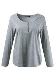 Shirt, Knopfleiste, Rundhals, gerundeter Saum
