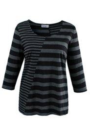 Streifenshirt aus elastischem Jersey, Patchlook