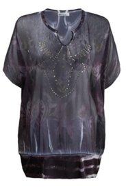 Shirtbluse mit Ornamenten und Silbernieten, oversized