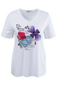 Shirt mit glitzernden Schmuckdekoren, Elasthan