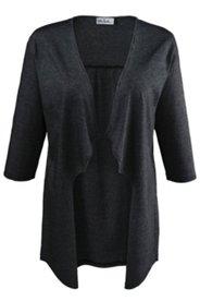 Shirtjacke mit feinen Streifen, offene Form