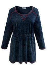 Jerseykleid mit modischer Waschung und Taillen-Tunnelzug