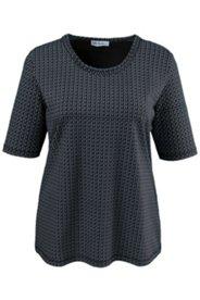 T-Shirt mit feinem Kreismuster, Elasthan