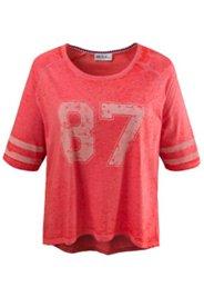 T-Shirt mit Zahlenmotiv, hinten verlängert