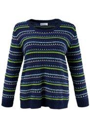 Pullover, Rundhalsausschnitt, Strukturringel, elastische Qualität