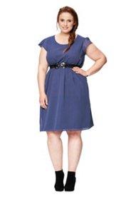 Kleid, elastische Quernaht in der Taille, gepunktet, Rundhalsausschnitt