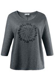 Shirt, V-Ausschnitt, geflammte Struktur, Langarm