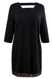 Kleid, Pailletten-Bordüre, gerader Schnitt, 3/4-Arm, Punto-di-Roma