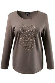 Shirt mit glitzernder Pailletten-Eule, Stretchkomfort