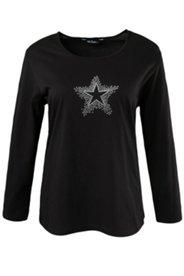 Shirt, Stern, Ziersteine, Langarm, Baumwolle