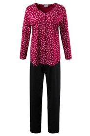 Pyjama, Knopfleiste, 2-tlg., Langarm, V-Ausschnitt, Schneeflocken-Print, Baumwolle