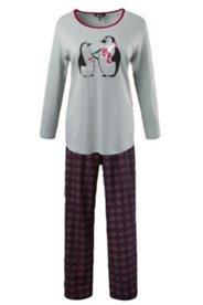 Pyjama, Kontrast-Ausschnitt, 2-tlg., Langarm, Rundhals, Pinguin-Print, Baumwolle
