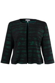 Jerseyjacke mit grünem Metallic-Effekt, offene Form