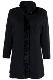Mantel, Stehkragen, leicht tailliert, Persianer-Optik