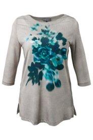 Shirt, U-Boot-Ausschnitt, Slinkyqualität, 3/4 Arm, Blütenmotiv