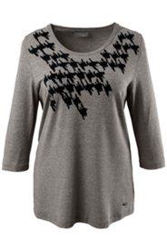 Shirt, elastischer Viskose-Crêpe mit Flockprint