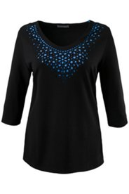 Shirt, Lasercut-Design unterlegt in Kontrastfarbe, 3/4-Arm