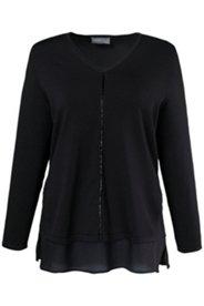 Pullover, Perlenverzierung, Seiden-Georgette-Saum