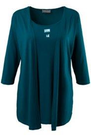 2-in-1-Shirt mit funkelnden Ziersteinen, Stretch