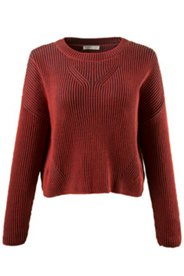 Boxy-Pullover, zweifarbiger Rippstrick, Biobaumwolle