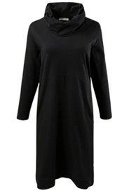 Jerseykleid, Bio-Baumwolle, weiter Rollkragen, 2 Taschen, Zipfelsaum