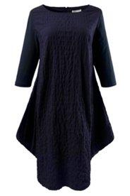 Kleid, O-Form, U-Boot-Ausschnitt, Bio-Seersucker