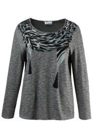 Pullover mit Schalaufdruck, Elasthan