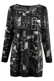 Longshirt, U-Boot-Ausschnitt, weiche Qualität, schwarz/weiß Druck, Langarm
