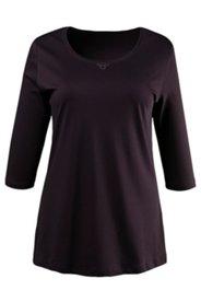 Shirt, Rundhalsausschnitt, Baumwolle, Strassdekor, 3/4 Arm