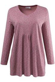 Shirt, V-Ausschnitt, A-linie, Biesen, Langarm, Blütenmuster
