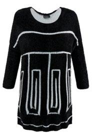 Oversized-Pullover, Rundhalsausschnitt, XL-Geomuster