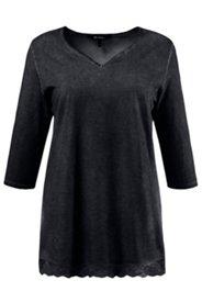 Shirt, V-Ausschnitt, Spitzensaum, oil-dyed, 3/4 Arm