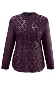 Shirtbluse, vorne mit transparenter Spitze, oil-dyed