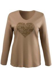 Shirt, Schrift-Herzmotiv, körpernahe Form