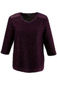 Pullover, Metallic-Effekt, Feinstrick, 3/4-Arm, Gewebeeinsätze