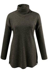 Pullover, Rollkragen, Seitenschlitze, Melange-Strick