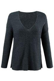 Strick-Pullover, tiefer V-Ausschnitt, Grobstrick