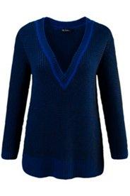 Pullover, zweifarbiger Strukturstrick, tiefer V-Ausschnitt