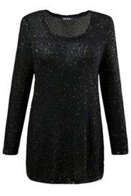 Long-Pullover, goldene Pailletten, Feinstrick, leicht transparent