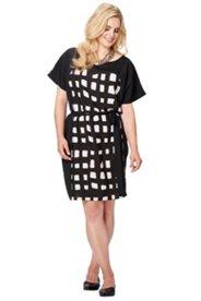 Kleid, bedruckter Einsatz im Vorderteil, Rundhalsausschnitt