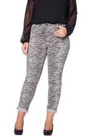 Jeans, Zebradruck in grau, Skinny 5-Pocket-Form, schmale Röhrenform