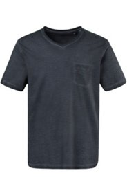 T-Shirt, Oil-Dyed-Effekt, Halbarm, Rundhalsausschnitt, Brusttasche